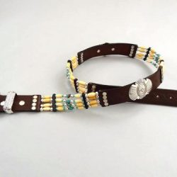Turquoise & Hairpipe belt in brown Italian leather