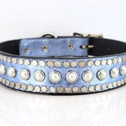 Dog collar All Pearl in blue metallic Italian leather with white pearls