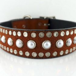Dog collar All Pearl in Italian leather and rust suede with white pearls