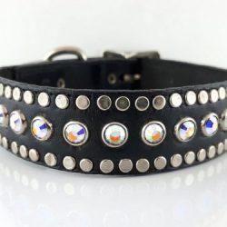 Dog collar All Swarovski in black Italian leather with AB Swarovski crystals