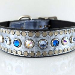 Dog Collar All Swarovski in blue metallic Italian leather with Bermuda blue, aqua and AB Swarovski crystals