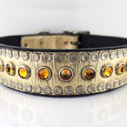 Dog collar All Swarovski in gold metallic Italian leather with topaz Swarovski crystals