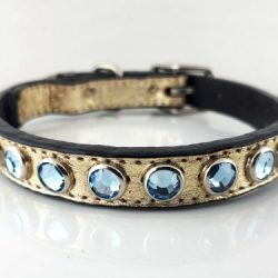 Dog Collar All Swarovski in gold metallic Italian leather with aqua Swarovski crystals