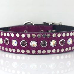 Dog collar All Swarovski in hot pink suede and Italian leather with amethyst & AB Swarovski crystals