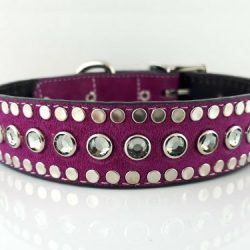Dog Collar All Swarovski in hot pink suede and Italian leather with black diamond Swarovski crystals