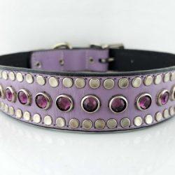 Dog collar All Swarovski in lavender Italian leather with amethyst Swarovski crystals