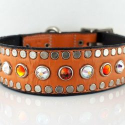 Dog Collar All Swarovski in orange kid skin Italian leather with AB and fire opal Swarovski crystals
