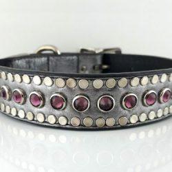 Dog collar All Swarovski in pewter metallic Italian leather with amethyst Swarovski crystals
