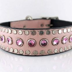 Dog Collar All Swarovski in pink Italian leather with rose Swarovski crystals