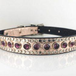 Dog Collar All Swarovski in pink metallic Italian leather with amethyst Swarovski crystals