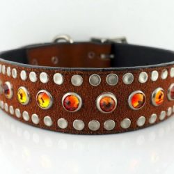 Dog collar All Swarovski in rust suede and Italian leather with fire opal Swarovski crystals
