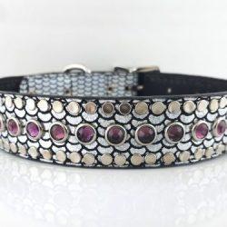 Dog Collar All Swarovski in shiny Italian leather with amethyst Swarovski crystals