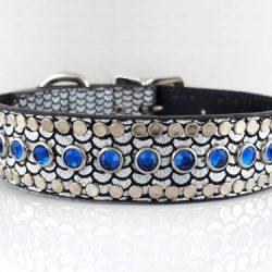 Dog Collar All Swarovski in shiny Italian leather with Bermuda blue Swarovski crystals