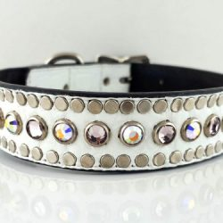Dog collar All Swarovski in white Italian leather with light amethyst and AB Swarovski crystals