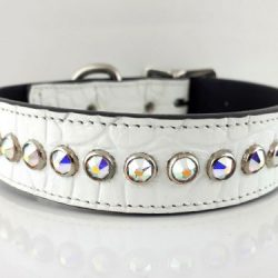 Dog Collar All Swarovski in white Italian crocko leather with AB Swarovski crystals