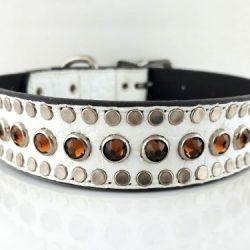 Dog collar All Swarovski in white Italian crocko leather with smoke Swarovski crystals