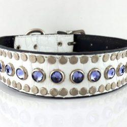 Dog collar All Swarovski in white Italian crocko leather with velvet Swarovski crystals