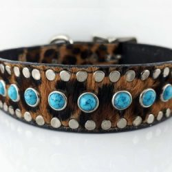 Dog Collar All Turquoise in Italian leather and baby leopard cow hair from Brazil, with blue turquoise