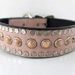 Dog Collar All Turquoise in pink Italian leather with salmon turquoise