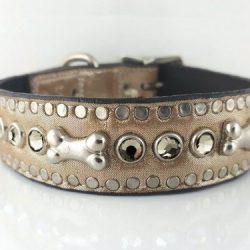 Dog Collar Bone & Crystal in champagne metallic Italian leather with black diamond Swarovski crystals
