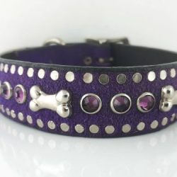 Dog Collar Bone & Crystal in Italian leather and purple suede with amethyst Swarovski crystals