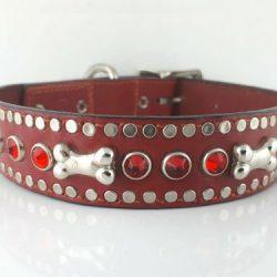 Dog Collar Bone & Crystal in red Italian leather with siam Swarovski crystals