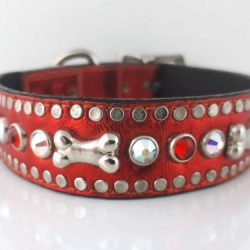 Dog Collar Bone & Crystal in red metallic Italian leather with siam and AB Swarovski crystals