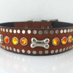 Dog Collar Bone & Crystal in rust Italian leather and suede with fire opal Swarovski crystals