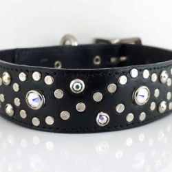 Dog Collar Crystal S in black Italian leather with AB Swarovski crystals