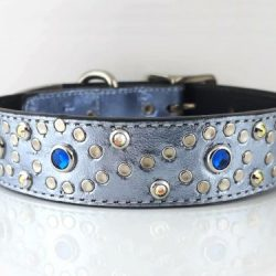 Dog Collar Crystal S in blue metallic Italian leather with Bermuda blue Swarovski crystals