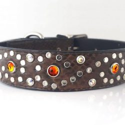 Dog Collar Crystal S in cognac Italian leather with fire opal Swarovski crystals