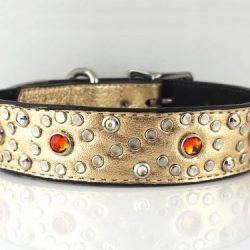 Dog Collar Crystal S in gold metallic Italian leather with fire opal Swarovski crystals