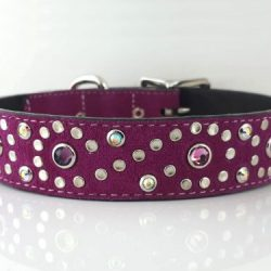 Dog collar Crystal S in hot pink suede and Italian leather with amethyst, rose & AB Swarovski crystals