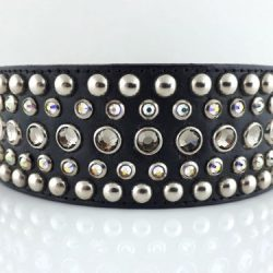 Dog collar Diva in black Italian leather with black diamond and AB Swarovski crystals