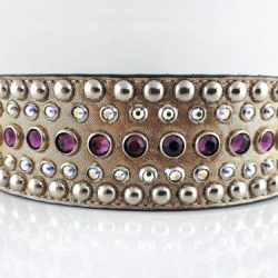 Dog collar Diva in champagne metallic Italian leather with amethyst and AB Swarovski crystals