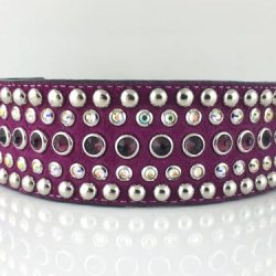 Dog collar Diva in Italian leather and hot pink suede with amethyst and AB Swarovski crystals