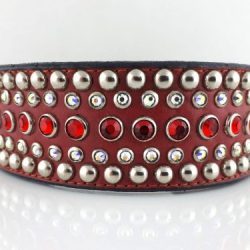 Dog collar Diva in red Italian leather with siam and AB Swarovski crystals