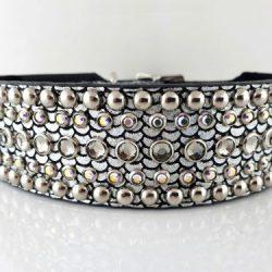 Dog collar Diva in shiny Italian leather with black diamond and AB Swarovski crystals