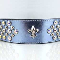 Dog Collar Fleur-de-Lys in blue metallic Italian leather with fleur de lis ornament and AB Swarovski crystals