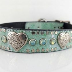 Dog Collar Heart & Crystal in aquamarine Italian leather and suede with sea foam Swarovski crystals