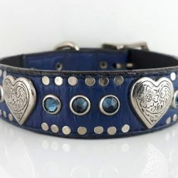 Dog Collar Heart & Crystal in indigo Italian leather with montana Swarovski crystals