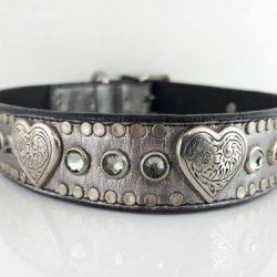 Dog Collar Heart & Crystal in pewter metallic Italian leather with black diamond Swarovski crystals