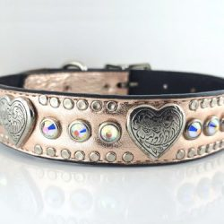 Dog Collar Heart & Crystal in pink metallic Italian leather with AB Swarovski crystals