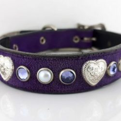 Dog Collar Heart, Pearl & Crystal in Italian leather and purple suede with velvet Swarovski crystals and white pearls