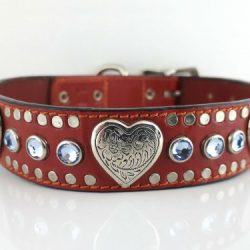 Dog Collar Heart & Crystal in red Italian leather with sapphire Swarovski crystals