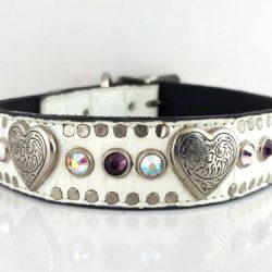 Dog Collar Heart & Crystal in white Italian crocko leather with amethyst and AB Swarovski crystals