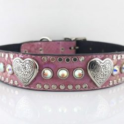 Dog Collar Heart & Crystal in pearl pink Italian leather and suede with AB Swarovski crystals