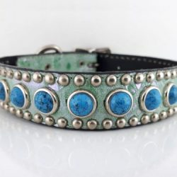Dog Collar Jumbo Turquoise in Italian leather and aquamarine suede with blue jumbo turquoise