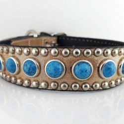 Dog Collar Jumbo Turquoise in champagne metallic Italian leather with blue jumbo turquoise
