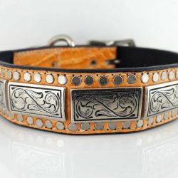 Dog Collar K9 Square in orange Italian leather
